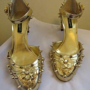 Dolce&Gabbana Gold Metallic Leather Spike Shoe